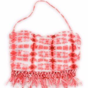 4/$25 NEW Tye-Dye Pink Fringe Swim Crop Bikini Top